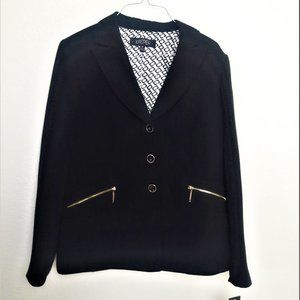 Kasper Suit Jacket Blazer Black 3 Button Black